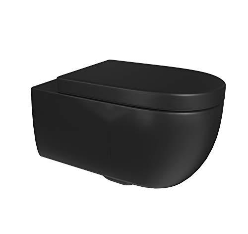 Aqua Bagno Spülrandlose Toilette inkl. WC-Sitz| Keramik schwarz matt | Design Hänge-WC | Wand-WC ohne Rand | WC-Sitz mit Absenkautomtik & und abnehmbar | Softclose | Badezimmer