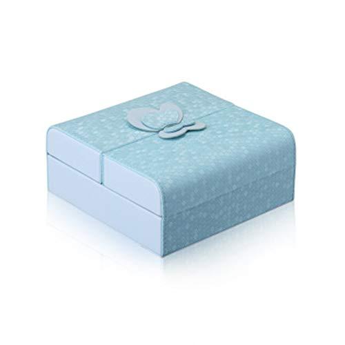 PPLAS Caja de joyería Doble joyería Abierta ataúd Maquillaje Maquillaje Maquillaje Organizador Belleza Caja de Viaje joyería Organizador Pendiente Pantalla (Color : Blue)