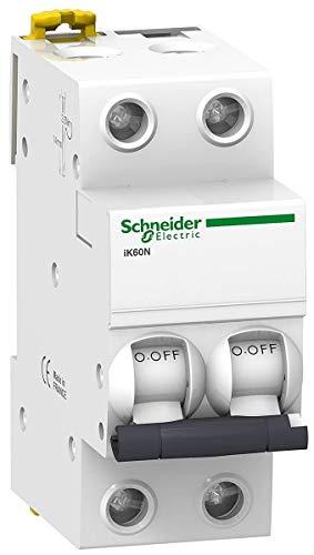 Schneider Electric A9K17216 IK60N Interruptor Automático Magneto Térmico, 2P, 16A, Curva C, 78.5mm x 36mm x 85mm, Blanco