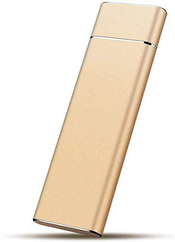 Disco duro externo de 1 TB para disco duro externo portátil USB 3.1 para PC, Mac, escritorio, ordenador portátil (2TB, Gold)