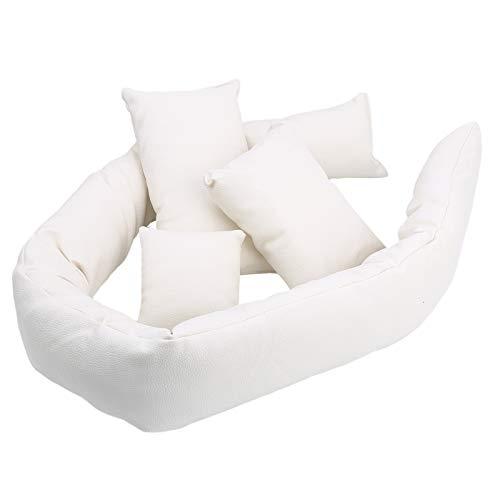 Mini sofá blanco accesorios de fotografía de bebé almohada infantil accesorios de fotos de Navidad