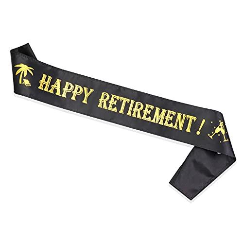 HOWAF Happy Retirement Sash Negro y Dorado,Regalos y Decoraciones para Fiesta de Jubilación Accesorios Jubilación Regalo para Jubilados para Mujeres y Hombres