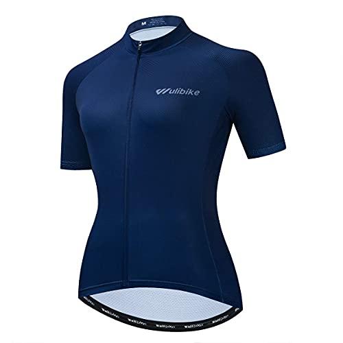Lo.gas Womens Cycling Jersey Short Sleeve Breathable Mesh Road Bike Shirt Bicycle Biking Tops 3 Rear Pockets UPF50+