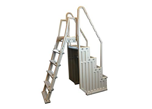 Confer Plastics Above Ground Swimming InPool Step & Ladder | Heavy Duty | White Frame with Gray Steps | Deck Height Up to 60 Inches | Enter & Exit Your Pool Safely