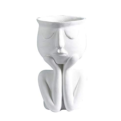 GSJDD Macetero de Cabeza, jarrón de Resina para Estatua de Rostro Humano, Adorno artístico Abstracto para decoración del hogar, esculturas, Plantas, Maceta, para Mesa, Escritorio, Dormitorio(White)