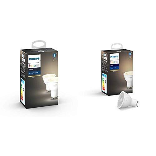 Philips Hue White, Faretti LED Intelligenti, Attacco GU10, 6W, 3 Pezzi [Classe di efficienza energetica A+]