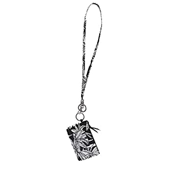 Lam Gallery Fashion Lanyard Wallet for Womens Zip ID Card Case with Wallet Badge Holder Lanyards for Office School Black Background Leaf