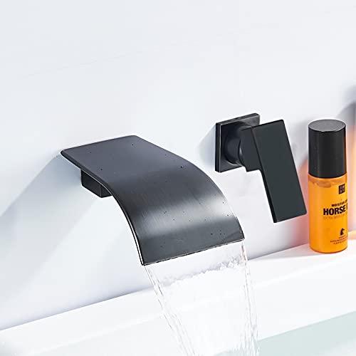 Cromo/negro/níquel cepillado grifo de lavabo de baño grifo de cascada de bañera de latón de montaje en pared