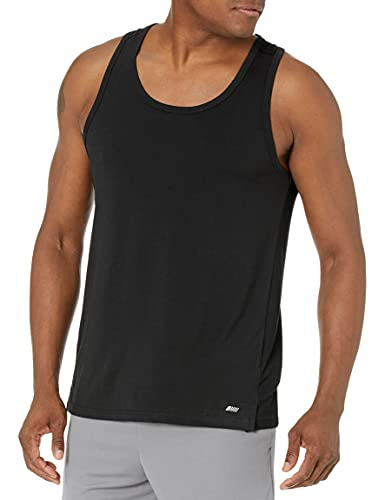 Amazon Essentials Men's Performance Cotton Tank Top Shirt, Black, Medium