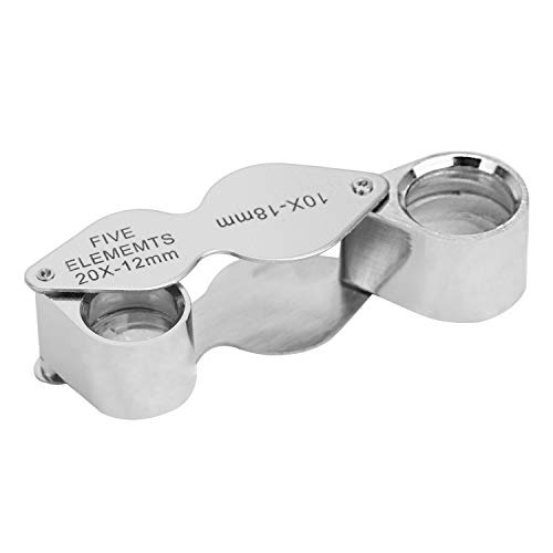 Optics 20X 10X Double 2 Lens Magnifying Glass Folding Magnifier Jewelers Pocket Loupe Pocket Microscope Set for Stamps, Coins, Watches, Antiques