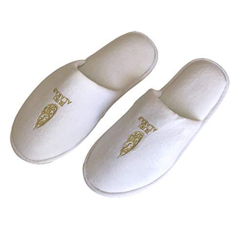 Quatro pares de Pantufa de Veludo com sola de borracha branco Unissex