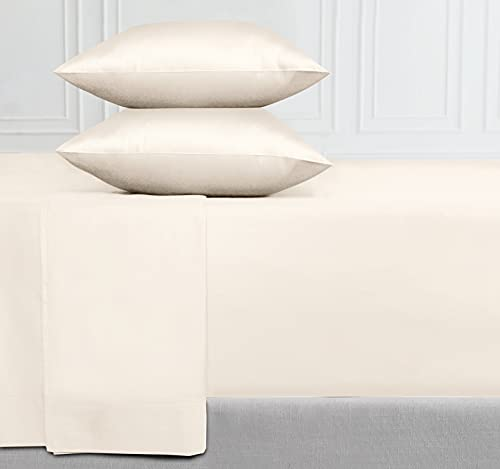 400-Thread-Count 100% Pure Cotton Sheets - 4-Piece Ivory Color King Sheet Set Long-Staple Combed Cotton Bed Sheets Breathable Sateen Weave Flat Sheets Fits Mattress 16 Deep Pocket
