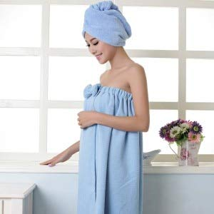 Heliansheng Toalla de baño de Microfibra para Mujer con Cinta para el Pelo Albornoces Textiles para el hogar Baño -A Blue-G15