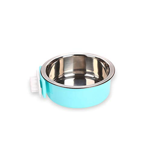 Andiker Pet Hanging Bowl 2-in-1 Removable Stainless Steel Food Hanging Bowl for Puppy/Cat, Pet Bowl Hanging Cage Large Water Food Feeder for Dogs Cats (small, blue)