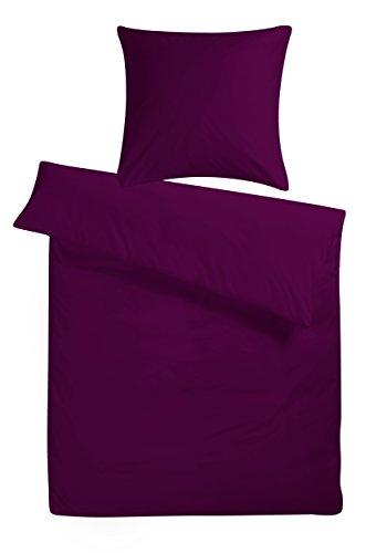 Carpe Sonno Mako Satin Bettwäsche 240 x 220 cm Violett Lila - Luxus Hotelbettwäsche aus 100% feinster Baumwolle robuster Qualitäts Reißverschluss - Hotel Bettgarnitur Set Kopfkissenbezug 80 x 80 cm