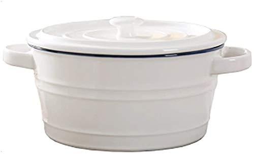 XUEXIU Zuppiera Cereal Bowl Ceramica Materiale Frosted Antiscivolo Design della Maniglia Design Coperchio Calda Non Design Semplice Ed alla Moda Essenziale Regalo da Tavola Ad Un Amico