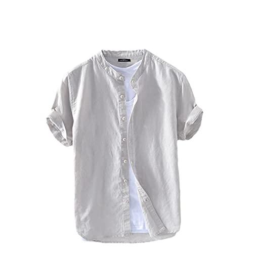 Hombres Camisa Algodón Stand Collar Manga Corta Sólida Blusa Streetwear Casual Transpirable Camisas Harajuku, Camisa gris, XXXXXL