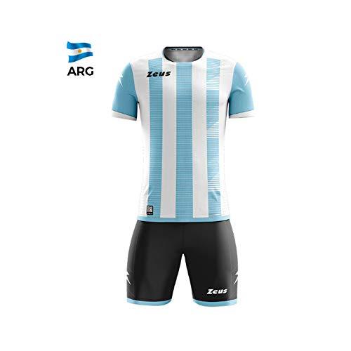 Zeus Kit Mundial Completino Calcio Colori Nomi Squadre Mondiali (S/M, Bianco-Sky (Argentina))