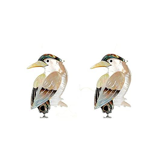 Pin de concha retro lindo pájaro animal, simple Shell Series señoras Animal Broche, broche de pájaro vintage, broche de boda de animales, 2 unidades