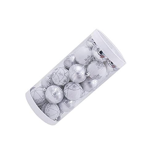 XINGFUQY 24pcs Argento Glitter Appeso a Palle Natalizie Albero di Natale Albero Dipinto in plastica Palla Dipinta Ornamento di Natale Ornamento Decorativo Puntelli Regali