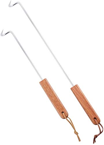 LQLMCOS Food Flipper Turner Hooks Stainless Steel BBQ Meat Hooks Cooking Barbecue Turners Hooks Grill Accessories with Wooden Handle for Grilling & Smoking (12.5 in+17.5 in)