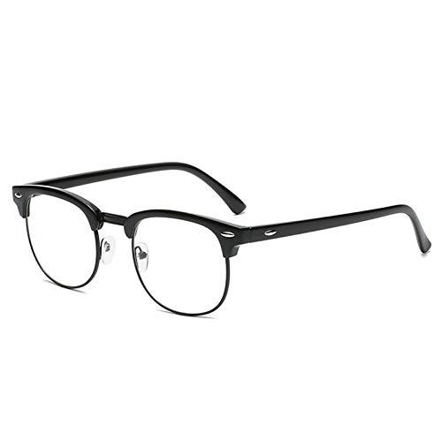 Blue Light Blocking Glasses for Women Men Classic Semi Rimless Fake Nerd Anti Blue Ray Computer Eyeglasses (Bright Black/Black)