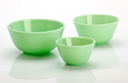 Mosser Glass 3 Piece Mixing Bowl Set in Jadeite