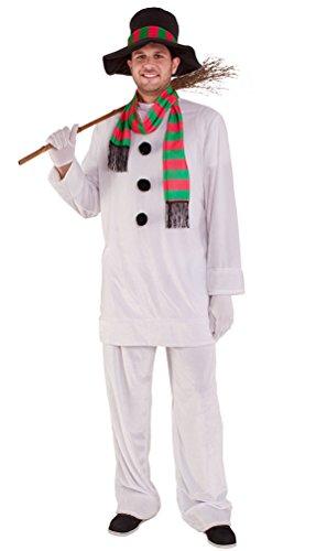 Karneval-Klamotten Schneemann Kostüm Herren mit Hut bunten Schal Komplettkostüm Fasching Weihnachten Erwachsene Herren-Kostüm