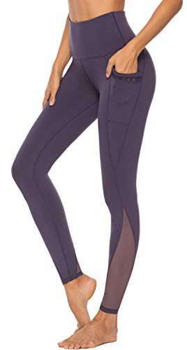 PERSIT Yoga Pants for Women with Pockets High Waisted Purple Mesh Workout Leggings Athletic Gym Soft Yoga Leggings - Purple - S