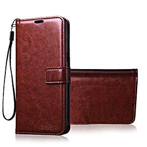 Bracevor Flip Cover for Oneplus 3 | One Plus 3T - Executive Brown Leather Finish | Foldable Stand Case |...