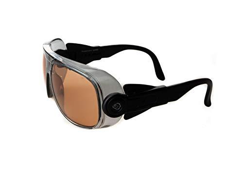 Occhiali protettivi fotocromatici in stile vintage per moto, bici, montagna, sicurezza, lenti infrangibili in policarbonato, trattamento antiappannamento, scurisce con il sole (Ambra)