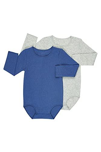 Bonds Baby Wondercool Eyelet Long Sleeve Bodysuit, Seascape/New Grey Marle, 0 (6-12 Months)
