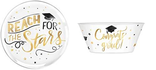 14' Dia Congrats Grad Round Platter and Mortarboard Serving Bowl - 2 Pcs Set | Graduation 2020 Table Supply, Party Serving Bowls