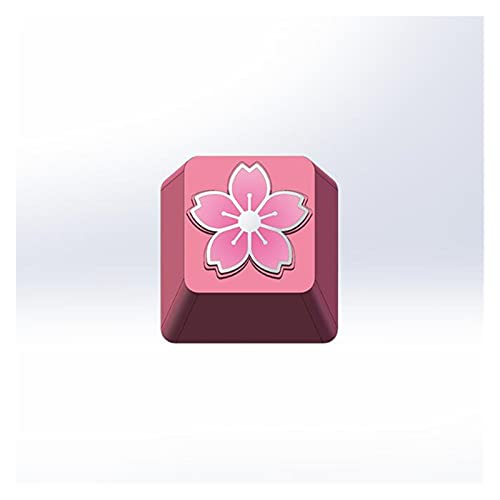BAIMENGLONG keycaps Key Cap 1 Pcs Cherry Blossoms Personality Aluminum Alloy Metal Mechanical Keyboards Keycaps R4 Height Cherry MX Axis Gaming Hats (Color : Pink)
