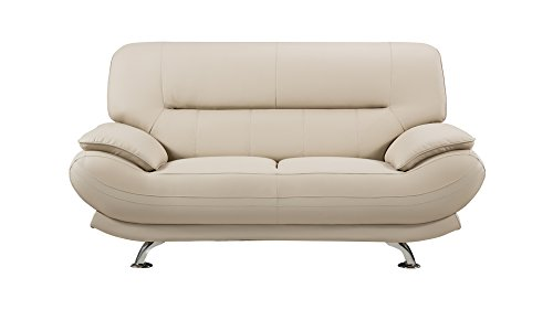 American Eagle Furniture Mason Modern Upholstered Bonded Leather Loveseat with Added Base Support and Pillow Top Armrests, 67', Bone