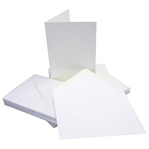25 Sets - Faltkarten DIN A5 - Hochweiß/Kristallweiß + Umschläge - Premium QUALITÄT - 14,8 x 21 cm - sehr formstabil - für Drucker geeignet - Marke: NEUSER FarbenFroh