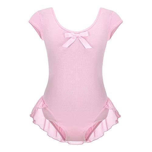FONLAM Body con Balletto per Bambina Abito da Balletto con Body Abiti da Ballerina Allenamento Sportivo di Ginnastica Classica (Rosa, 7-8 Anni)