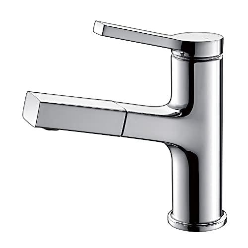 Grifos del lavamanos del baño, grifo de lavabo giratorio con spray de extracción, dos modos de salida de agua, manija de una sola manija, agua mezclada, grifo de cuenca extraíble, pulverizador de extr