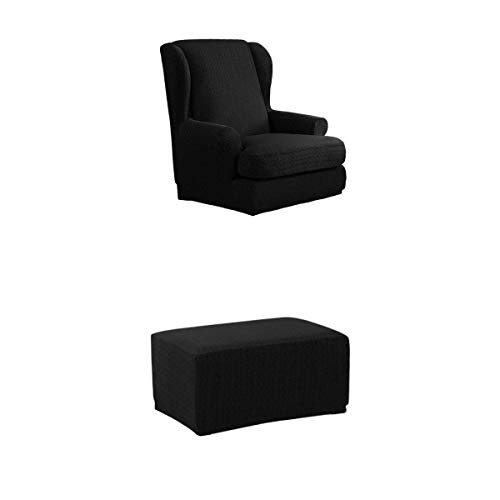 joyMerit Windmill Stretch Wing Back Arm Chair Cover Hocker Schonbezug Kit Schwarz