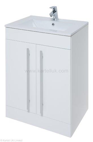 Mueble de lavabo de 600 mm de pureza con 2 puertas de color blanco brillante y lavabo de cerámica de 600 mm de pureza.