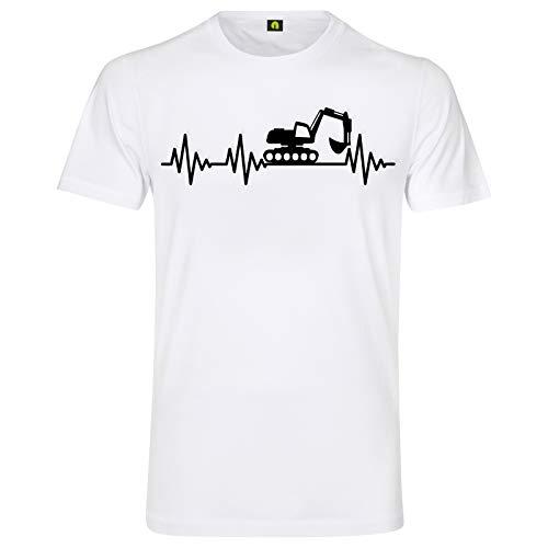 Herzschlag Bagger T-Shirt | EKG | Digger | Baustelle | Erde | Kran | Baumaschine Weiss S