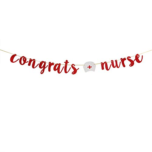 Red Glitter Congrats Nurse Banner for Congrats Grad Sign - Class of 2020 College Doctor Nurse Graduation Party Bunting Decoration