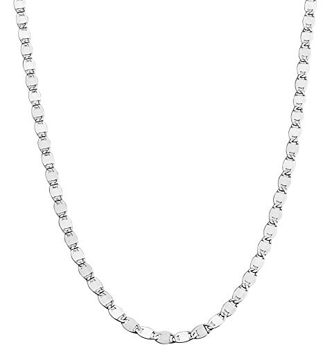 "Miabella 925 Sterling Silver Italian Sparkle Mirror Link Chain Necklace for Women Teen Girls, 13'+2', 16', 18', 20', 22', 24"", 26' & 30' Inch (20 inch)"