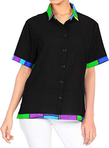 LA LEELA Halloween Costume botón de la Blusa de la Playa de Las Mujeres de Camisa Hawaiana Ocasional Oscuro L Halloween Negro_AA46