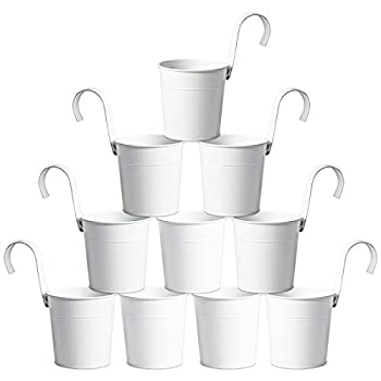 MorTime 10 Pack Metal Hanging Bucket Planter with Hook 4 Inches Mini Round White Storage Basket for Plant Flower Pots Indoor Outdoor Home Garden Patio Lawn