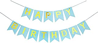 Aoliyou Happy Birthday Banner, Party Decorations, Versatile, Beautiful, Swallowtail Bunting Flag Garland, Chic blue and Gold