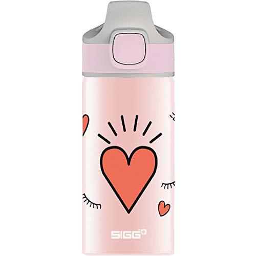 SIGG Girl Power Cantimplora infantil (0.4 L), botella para niños sin sustancias nocivas y con tapa hermética, botella de aluminio con pajita