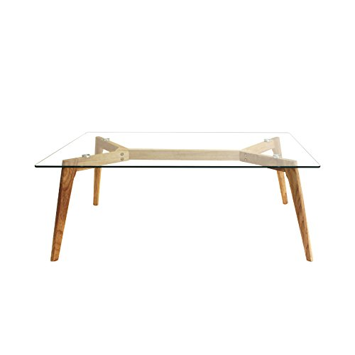 THE HOME DECO FACTORY HD3801 Table en Verre, Bois, Transparent-Marron, 110 x 60 x 45 cm