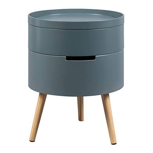 ZHUSHI Ruim Stevige Nachtkastje Modern nachtkastje Tabel Kast met 2 opbergvakken for slaapkamer woning (Color : Gray)