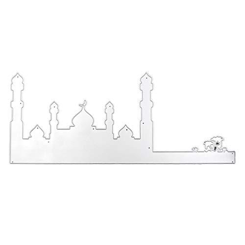 WT-YOGUET Moschee Kirche Metall Stanzformen Schablone DIY Scrapbooking Album Stempelkarte